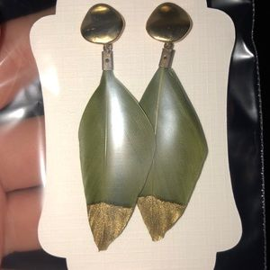Olive color feather gold dipped earrings
